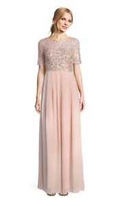 ADRIANNA PAPELL ENGLISH Rosa BlauSH Rosa GOWN SHORT SLEEVE SEQUIN MOB WEDDING