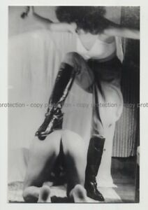 Mistress-Punishing-Nude-Slave-On-Knees-Breeches-BDSM-Vintage-Photo-50s-60s