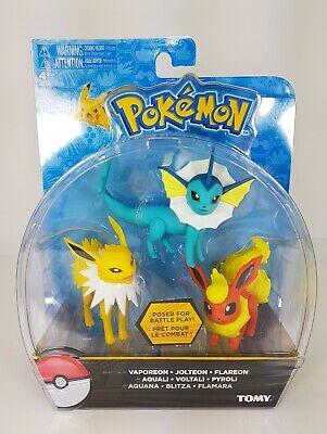 Figurines Pokémon Aquali Pyroli Voltali TOMY neuf Blister