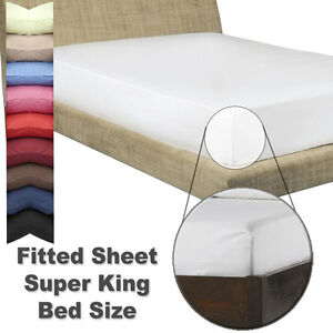 SUPER KING Size FITTED SHEET With Free Matching Pillowcases  - In 26 Colours
