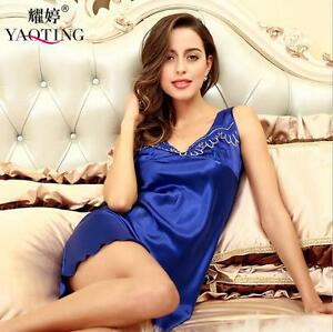 e7cdcaec2a Image is loading Plus-Size-Women-Lingerie-Silky-Satin-Pajama-Sleepwear-