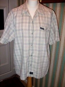 No-Fear-Grey-white-check-Short-Sleeve-Shirt-Size-Large