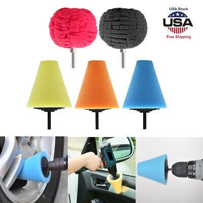 Cone Round  Foam  Clean Hub Polish Car Wheel Sponge Buffing Shank Polishing Pad