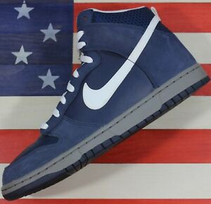 Nike-Dunk-High-Midnight-Navy-Charcoal-White-Vintage-2010-317982-401-Men-039-s-11-5