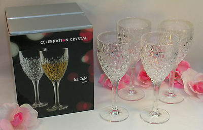 New Rogaska Celebration Crystal Set of 4 Four Ice Cold Wine Glasses Great Gift