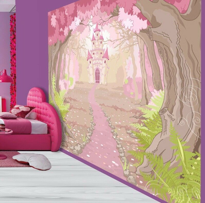 Hübsche Mädchen Wald Prinzessinen Schloss Tapeten Wandbild (28068296)
