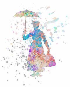 Watercolor Pop Art Print MARY POPPINS w/ Umbrella Julie Andrews ...