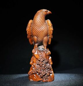 Noble Decor Exquisite Natural Boxwood Hand carved eagle on the pine trees Statue