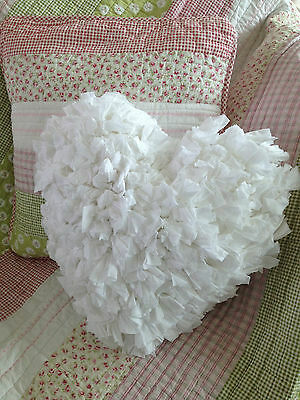 White Ruffle Shabby Chic Heart Shaped Filled Cushion