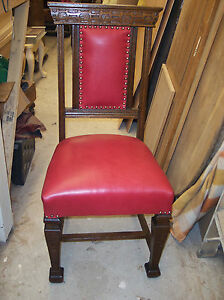 Image Is Loading Oak Gothic Carved Sidechair Entry Chair Red Leather