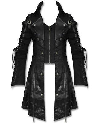 Dettagli su Punk Da Uomo Gotico Steampunk Militare Cappotto in Finta pelle Goth VELENO Giacca Lunga mostra il titolo originale