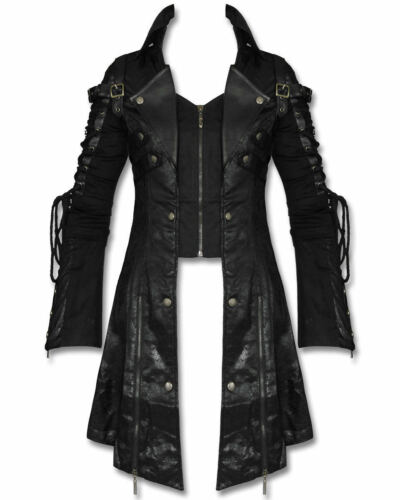 Gothic Jacket Poison Kunstleer Punk Steampunk Coat Military Heren Long Goth zw1vqg51