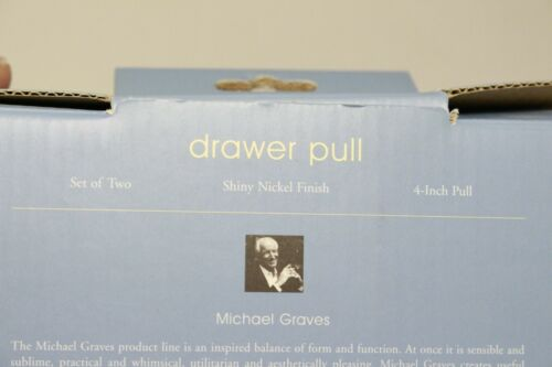 """Michael Graves Set of Two Shiny Nickel Finish 4/"""" Heavy Drawer Cabinet Pull"""