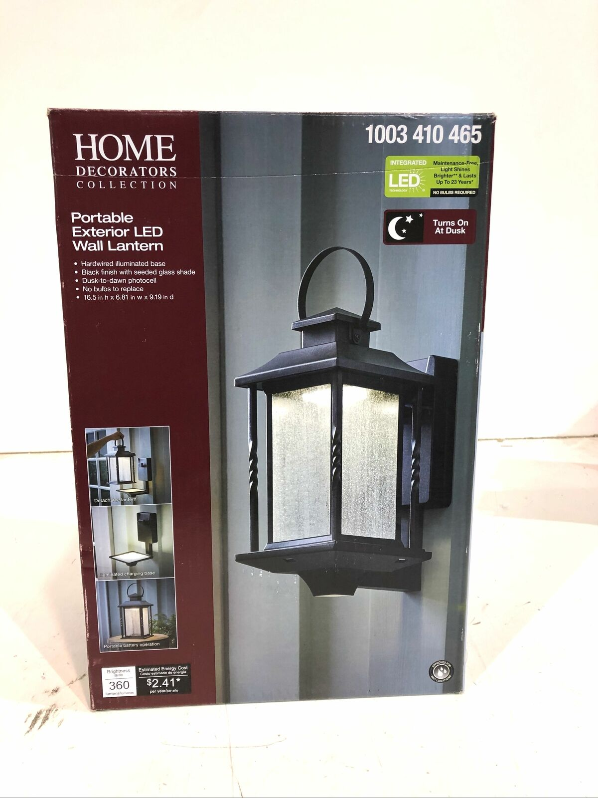 Home Decorators Collection Portable Black Outdoor Led Wall Lantern Sconce For Sale Online