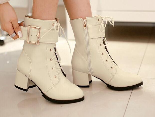 Botines botas zapatos botas militares mujer talón 5 como piel cómodo caldi 9082