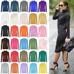 New-Ladies-Long-Sleeve-Plain-Turtle-Polo-Roll-Neck-Stretch-Jumper-T-Shirt-TeeTop