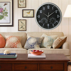 Large-Outdoor-Wall-Clock-Humidity-amp-Temperature-Roman-Numerals-Watch-Home-Office