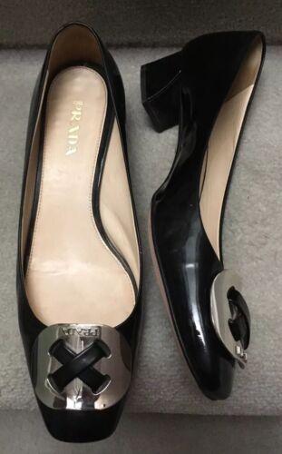 PRADA 39 Vernis Leather Shoe Black Silver Logo Buc