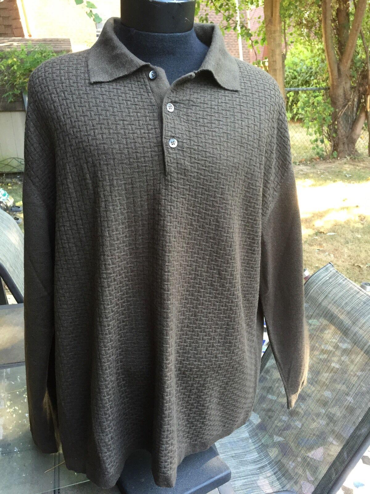 NWOT TODAY'S MAN sz.XL Men's Brown Sweater polo Shirt