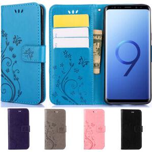 Etui-Coque-Housse-Flip-Portefeuille-Floral-PU-Cuir-Pour-Samsung-S6-S7-S8-S9-S10