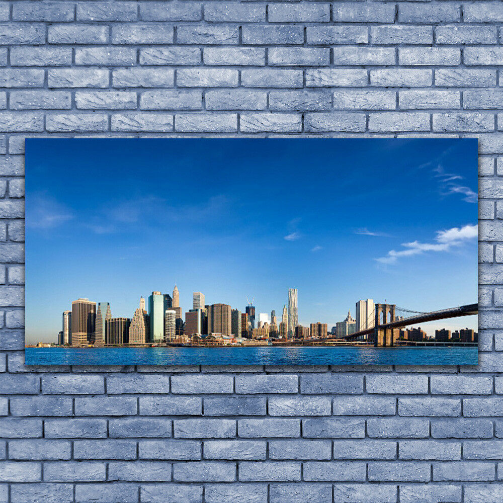 Print on Glass Wall art 140x70 Picture Image Image Image City Bridge Houses a596ff