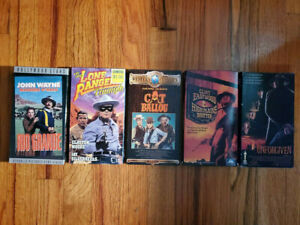 Lot5-Classic-Western-Movies-VHS-RARE-HTF-OOP-Eastwood-Autry-Lone-Ranger-Cowboy