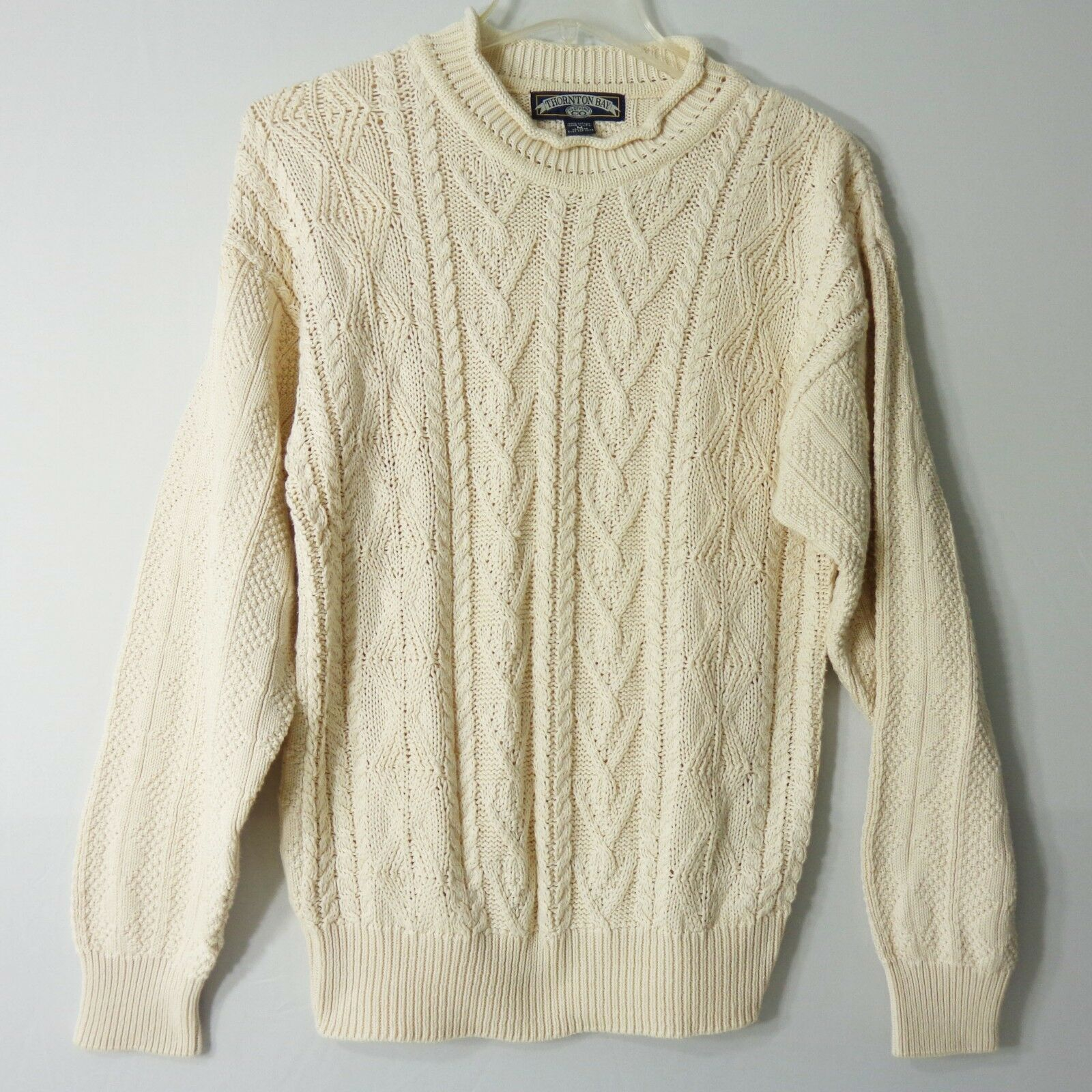Thornton Bay Vintage Mens Medium Sweater Knitted Cable Fisherman Ivory Made USA
