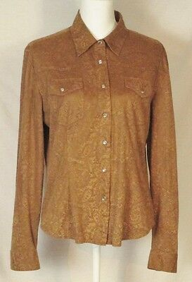 Cowgirl Hardware Top L Western Rhinestone Snap Brown Paisley Long Sleeve Shirt