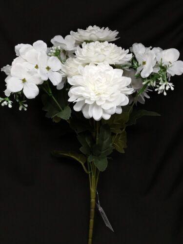 White Artificial Dahlia /& Blossom Mixed Bunch x 42cm Wedding Home Flower