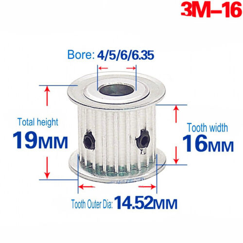 3M 12T-120T Pitch 3mm Tooth Width 16mm Timing Belt Pulley Synchronous Wheel Gear