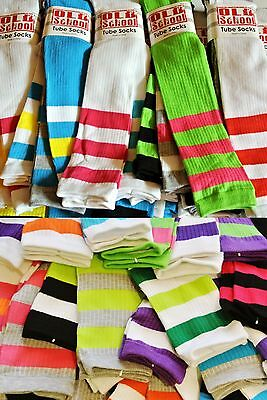 New 3 Pack/Pairs OLD SCHOOL Striped Tube Socks-Knee Highs-Skater/Sporty/Sexy/HOT