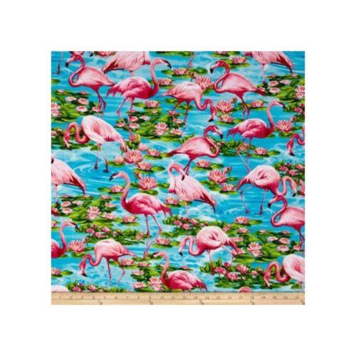 100/% Tela De Algodón Rosa Flamingo Ave Estanque tesoros atemporales animal lillypad
