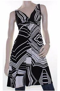 CKM-Black-Cream-Abstract-Dress-Tunic-Top-Blouse-Stripe-Size-8-10-12-14-16-Women