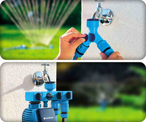 Hozelock Compatible W-Line Double Distributor w//Valves Garden Hose Pipe Water