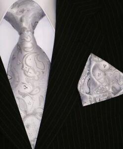 Binder-de-Luxe-Designer-Krawatte-Einstecktuch-Krawatten-Set-Tie-155-silber-Tlg