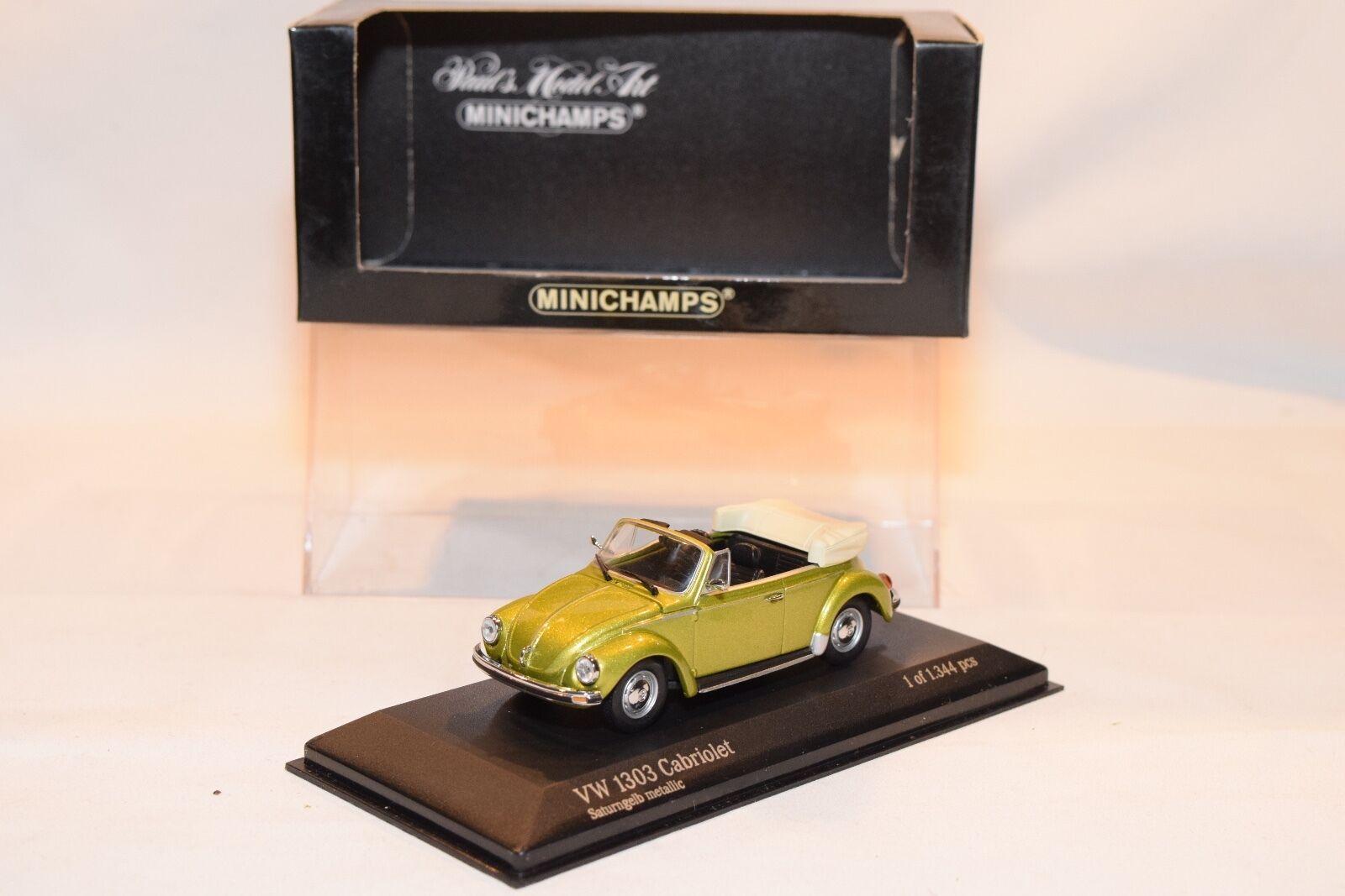 MINICHAMPS VW VOLKSWAGEN 1303 CABRIOLET BEETLE KAFER SATURNyellow YELLOW MINTBOXED