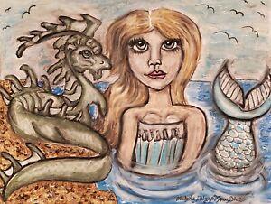 Mermaid-with-Sea-Dragon-Waterhorse-Pop-Art-Print-8-x-10-Signed-by-Artist-Fantasy