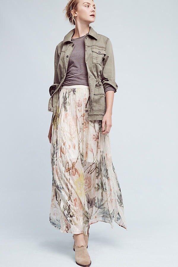 Anthropologie + Blank Daybreak Maxi Floral Skirt Long New Größe Small MSRP 168