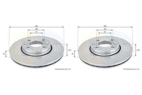 Front Coated Brake Discs FOR RENAULT CLIO III 1.4 1.6 05-/>14 Petrol Comline