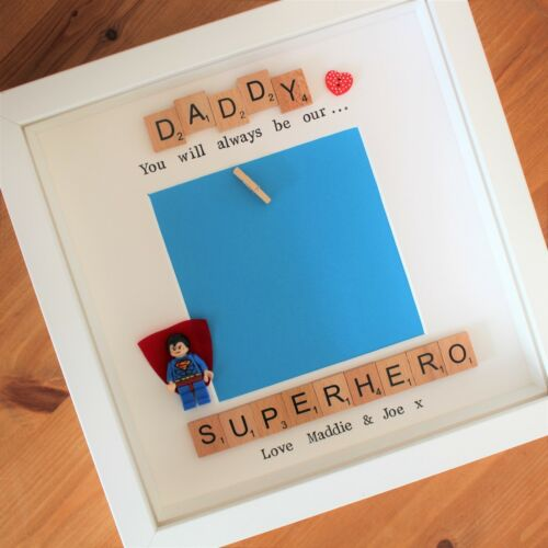 Valentines Birthday Superhero Gift Photo Frame personalised Dad Mum Mummy LEGO