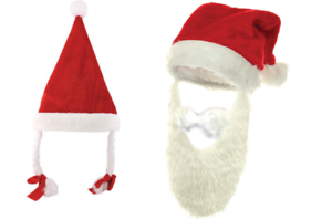 Father Christmas Santa felt hats Beard Pigtail red white Xmas eve dress fancy