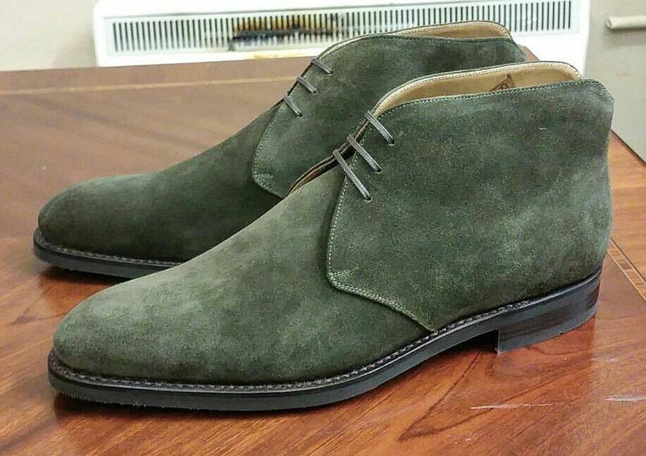 il più economico Uomo verde verde verde ankle suede leather Chukka stivali, Uomo dress leather Chukka stivali  rivenditore di fitness