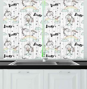 Unicorn Kitchen Curtains 2 Panel Set Decor Window Drapes 55 X 39 Ambesonne Ebay