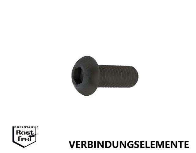 Linsenkopfschrauben mit Innensechskant ISO 7380 Stahl 10.9 schwarz hochfest