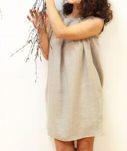 ... Robe Tissu De Lin Couleur Lin Naturel Beige