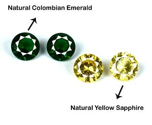 4 Pcs Lot Emerald & Yellow Sapphire Natural Round 11.25 Ct Gemstone Certified
