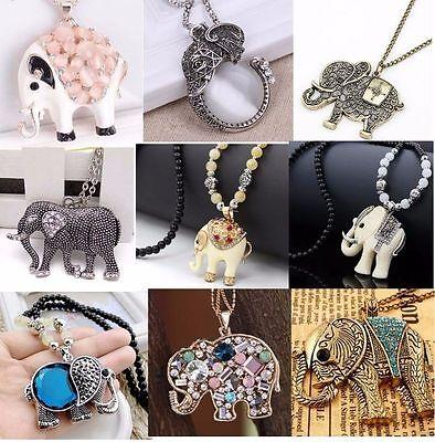 New Charm Elegant Fashion Elephants Pendant Sweater Chain Retro Silver Necklace