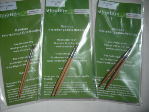 "HiyaHiya 3.25mm x 4/"" Bamboo Interchangeable Tips Knitting Needles 10cm"