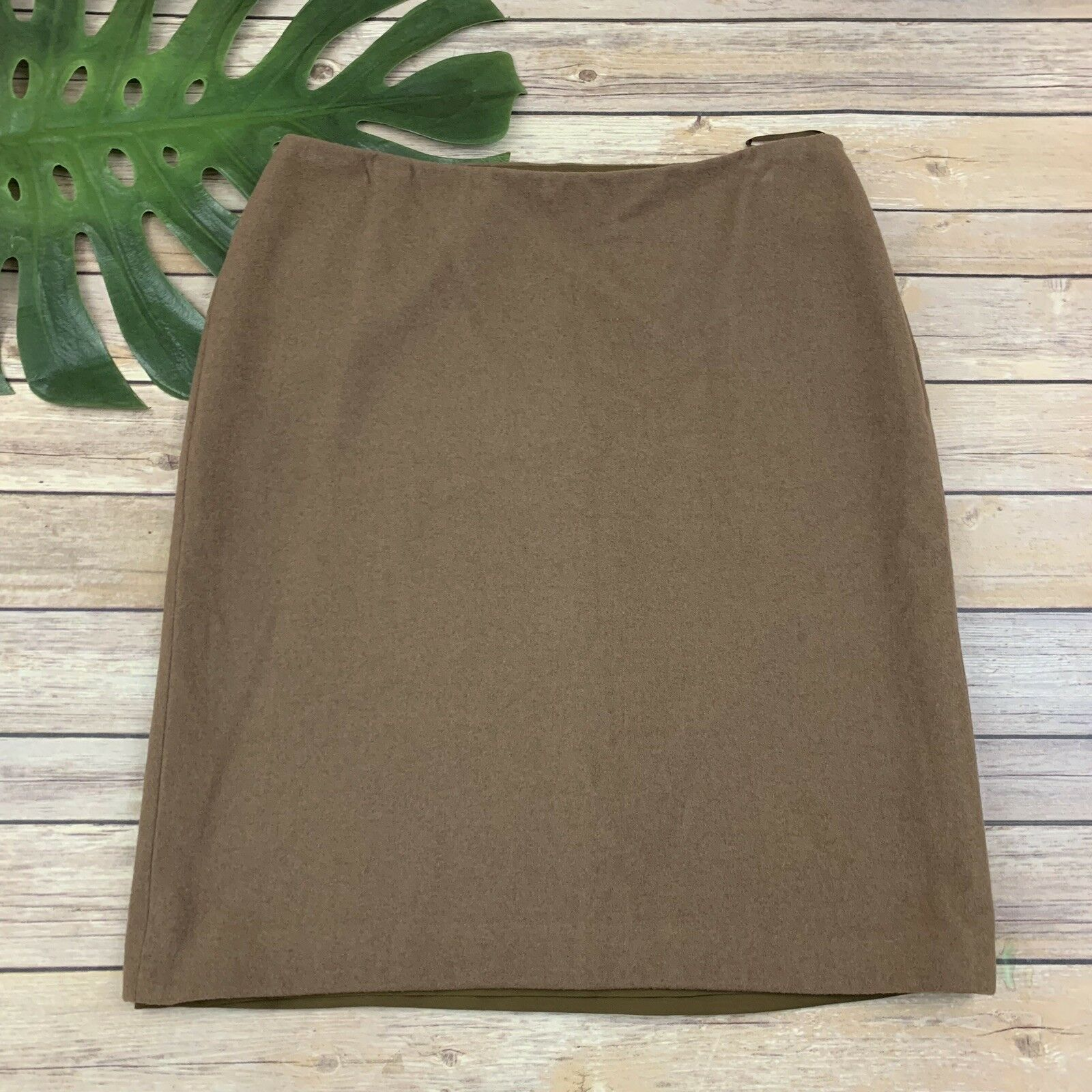 Jil Sander Womens Cashmere Pencil Skirt Size 38 6 Camel Brown Silk Lined Soft