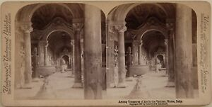 Vaticano-Museo-Roma-Italia-Foto-Stereo-Vintage-Albumina-1897